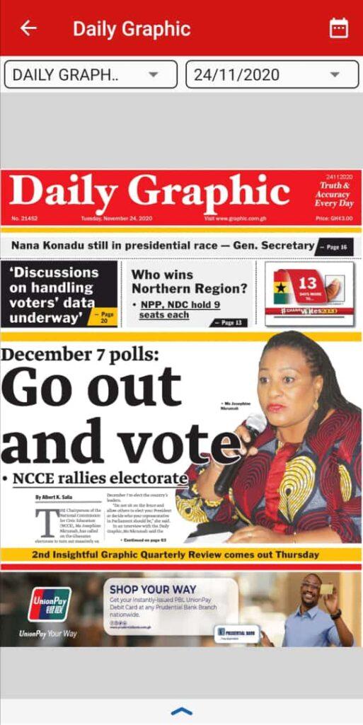 Newspaper headlines of Tuesday, November 24, 2020 5