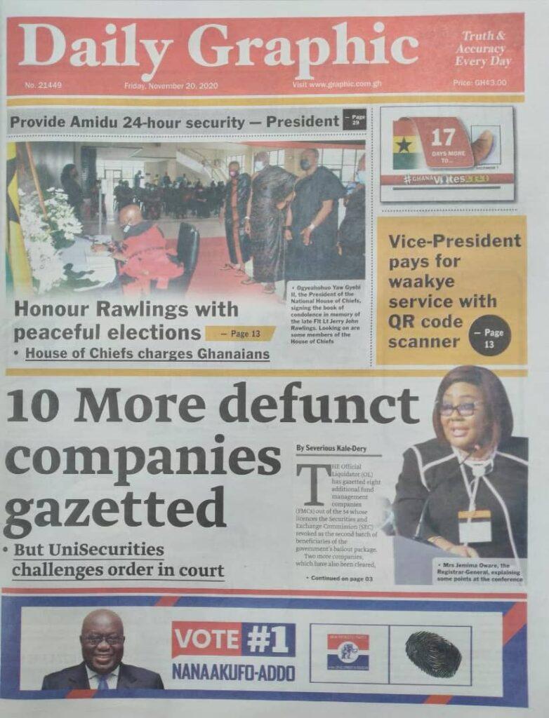 Newspaper headlines of Friday, November 20, 2020 27