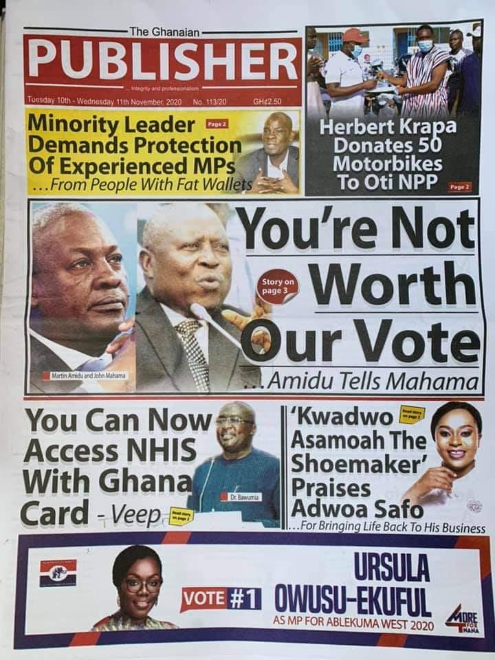 Newspaper headlines of Tuesday, November 10, 2020 30