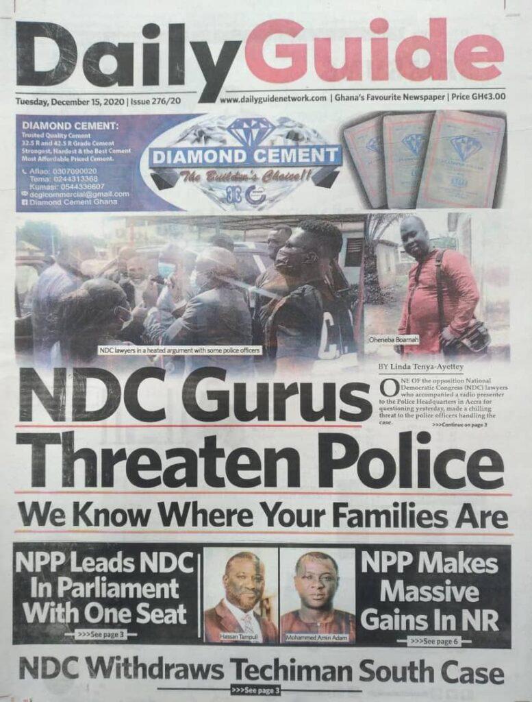 Newspaper headlines of Tuesday, December 15, 2020 35