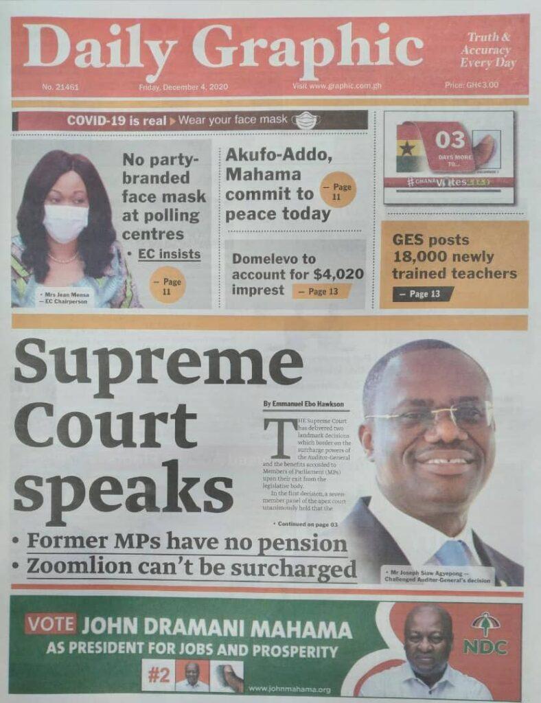 Newspaper headlines of Friday, December 4, 2020 48