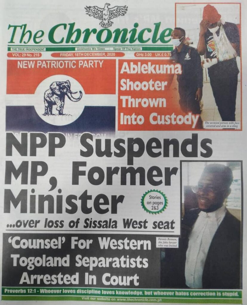 Newspaper headlines of Friday, December 18, 2020 35