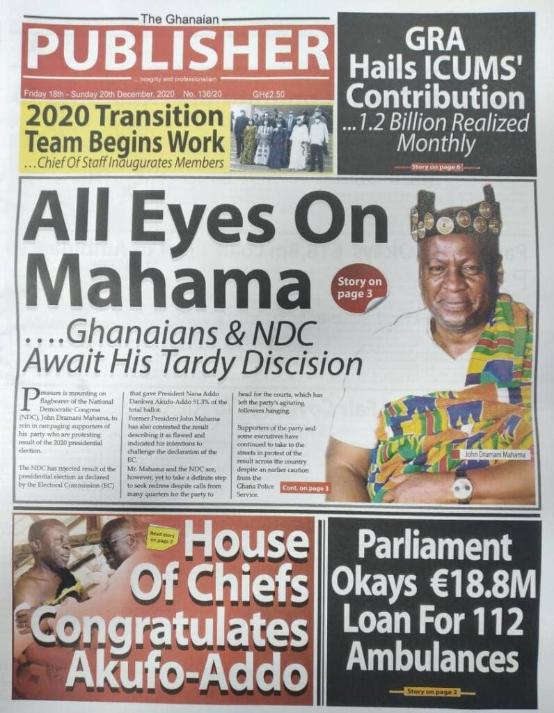 Newspaper headlines of Friday, December 18, 2020 34