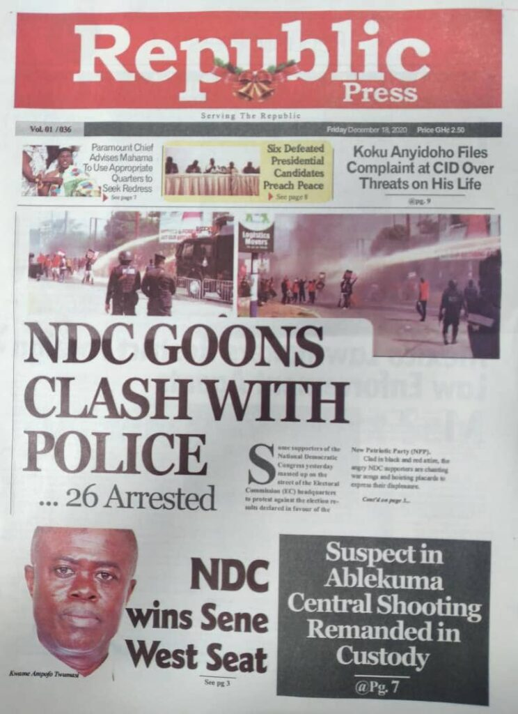 Newspaper headlines of Friday, December 18, 2020 31