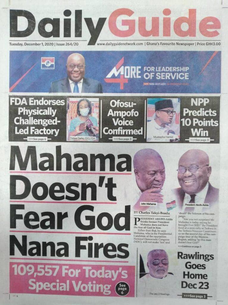 Newspaper headlines of Tuesday, December 1, 2020 26