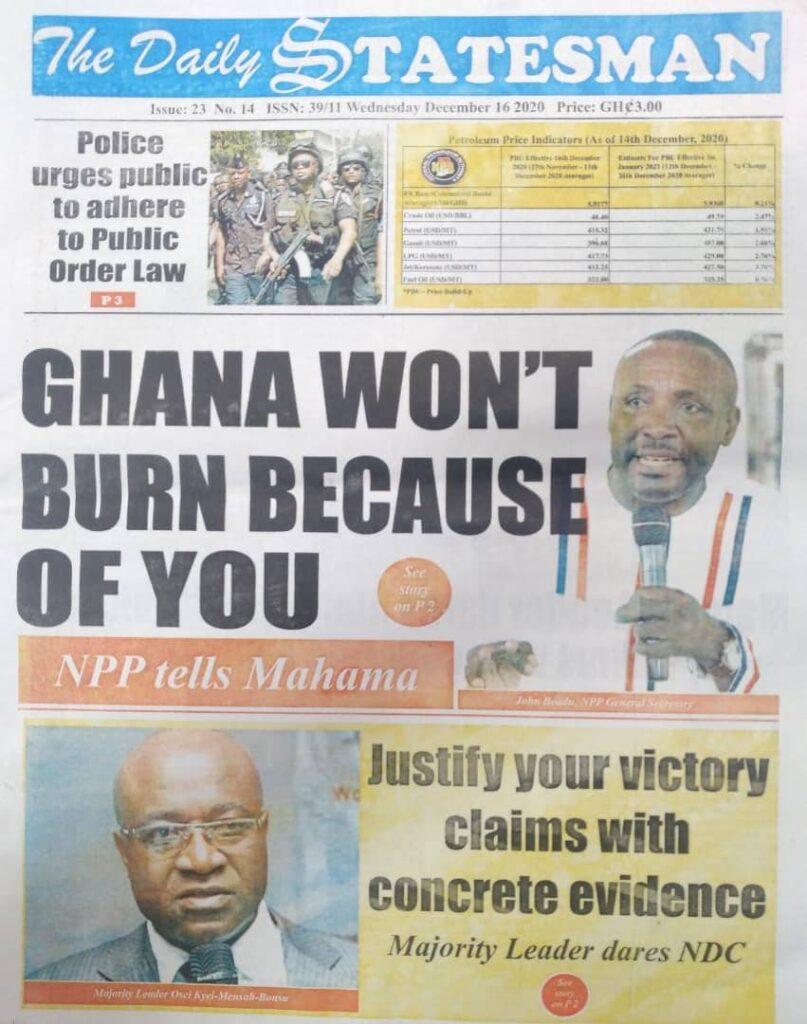 Newspaper headlines of Wednesday, December 16, 2020 56