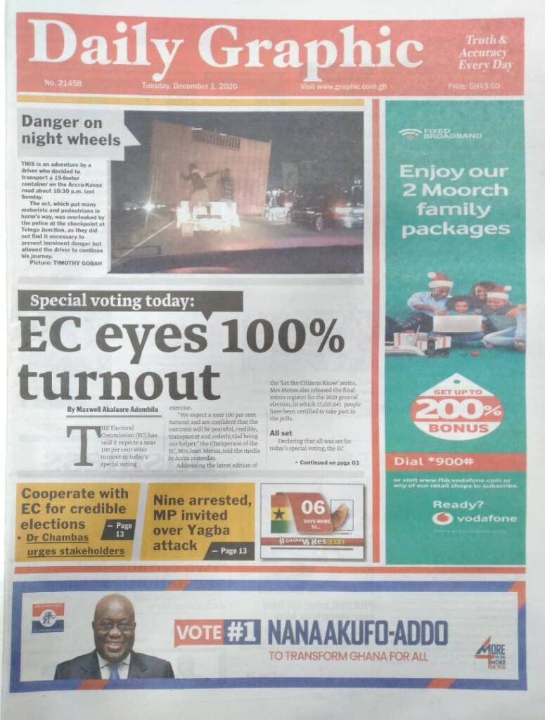 Newspaper headlines of Tuesday, December 1, 2020 25