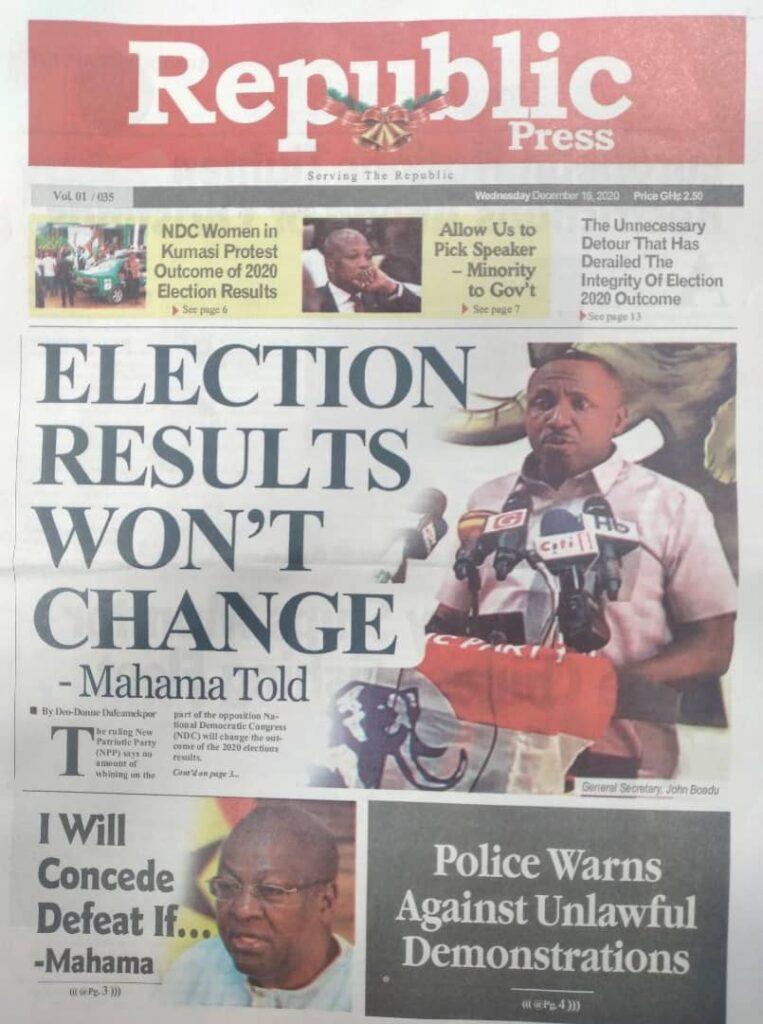 Newspaper headlines of Wednesday, December 16, 2020 49