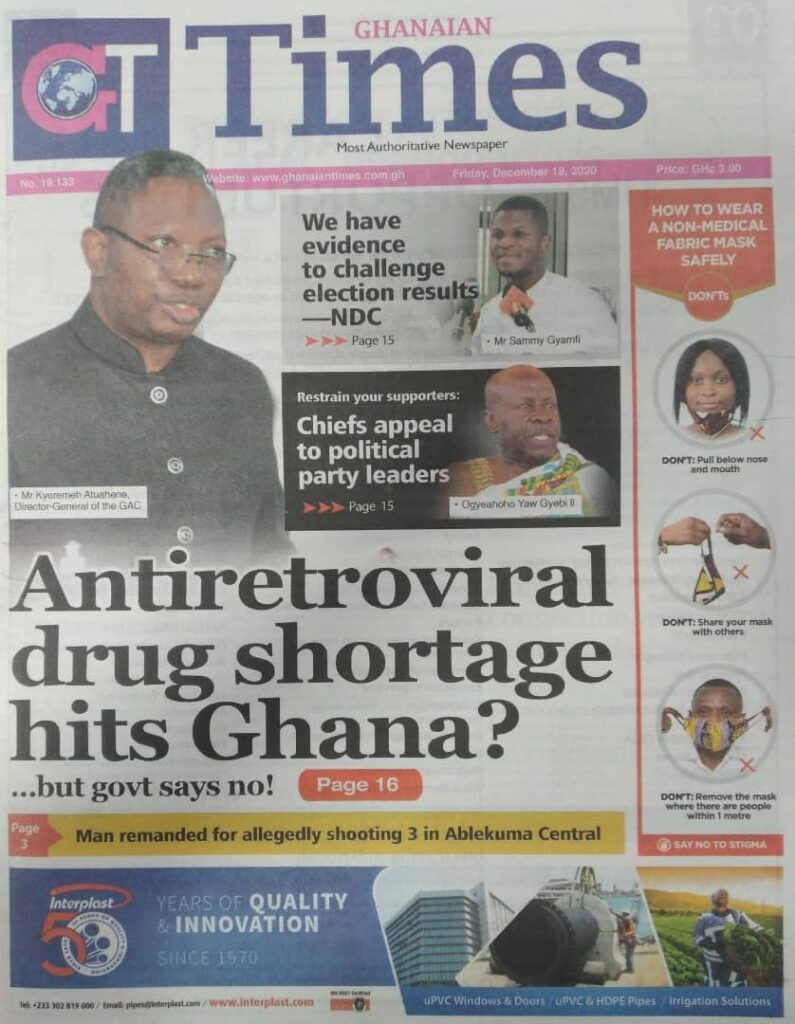 Newspaper headlines of Friday, December 18, 2020 30