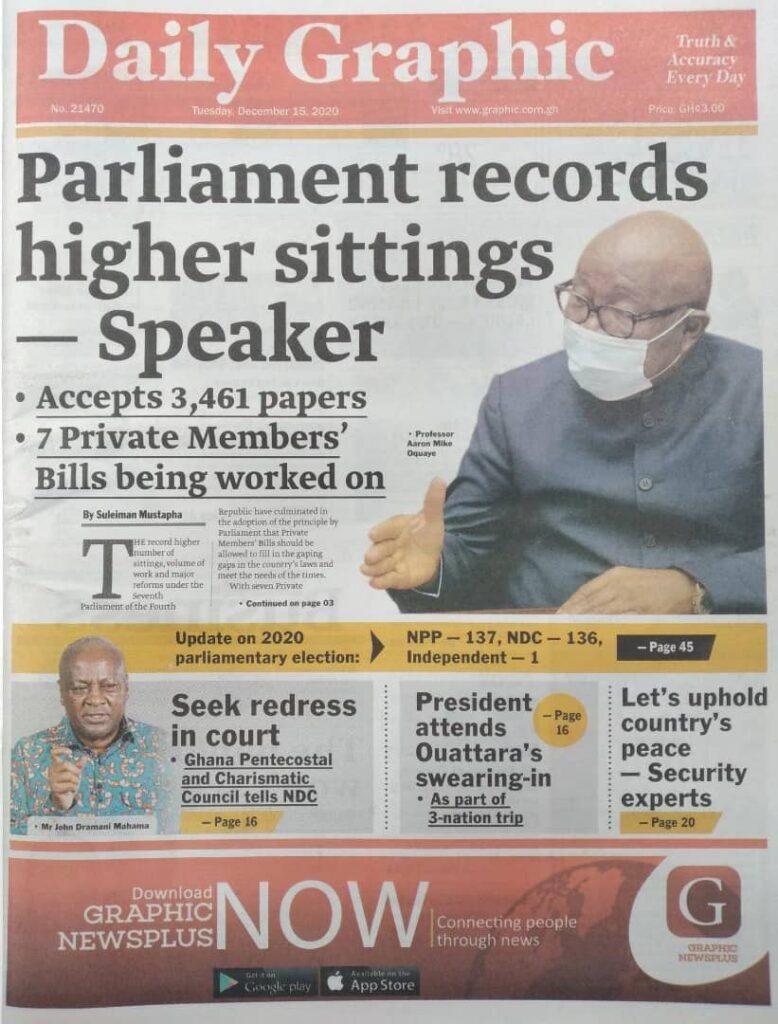 Newspaper headlines of Tuesday, December 15, 2020 36