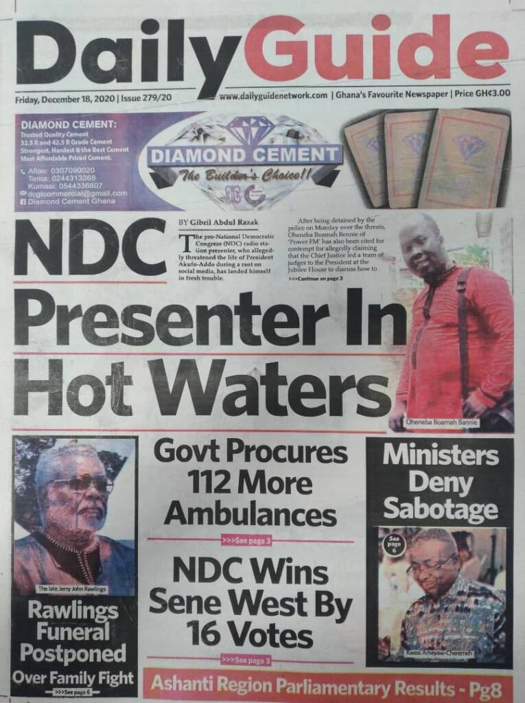 Newspaper headlines of Friday, December 18, 2020 27