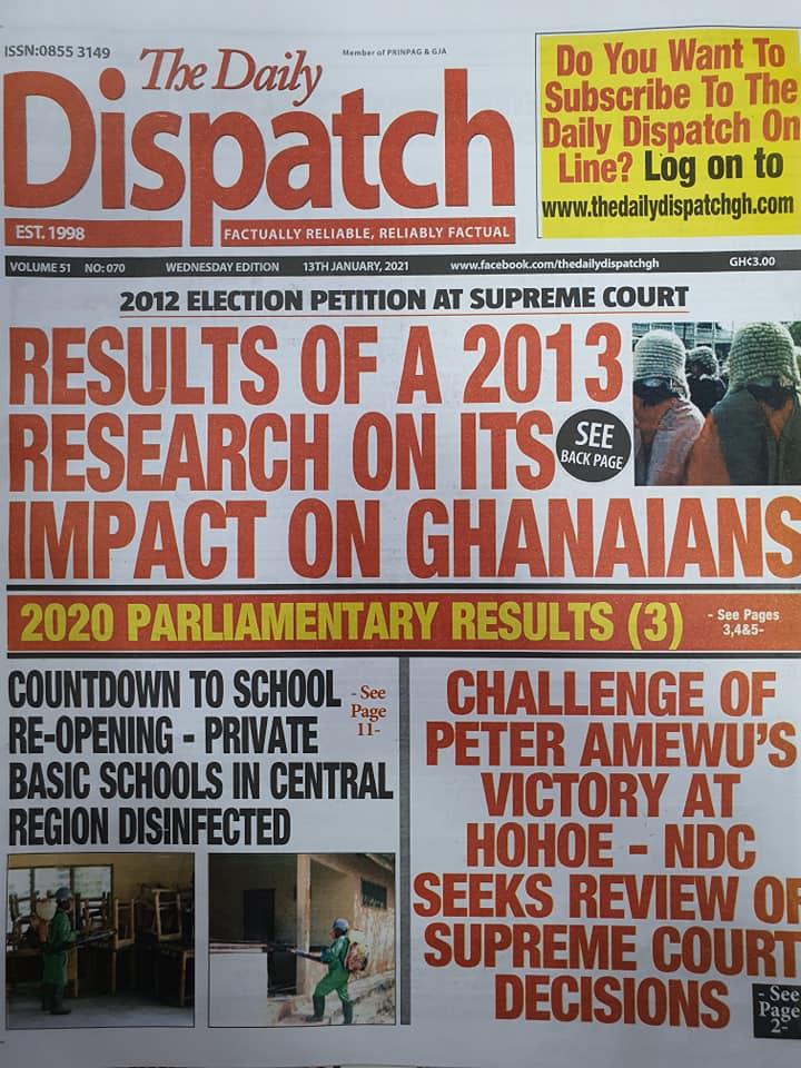 Newspaper headlines of Wednesday, 13 January , 2021 78