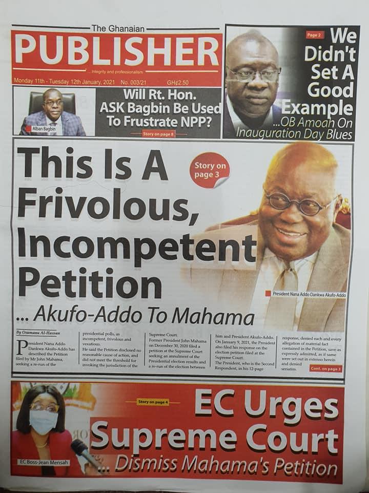 Newspaper headlines of Monday, January 11, 2021 75