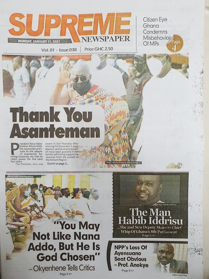 Newspaper headlines of Monday, January 11, 2021 81