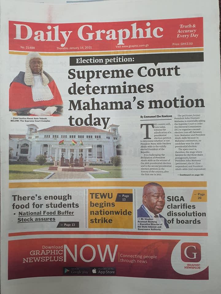 Newspaper headlines of Thursday, January 14, 2021 5