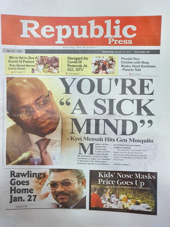Newspaper headlines of Wednesday, 13 January , 2021 66