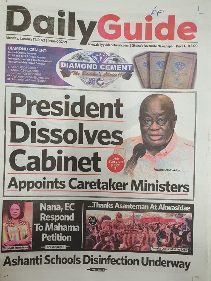 Newspaper headlines of Monday, January 11, 2021 83