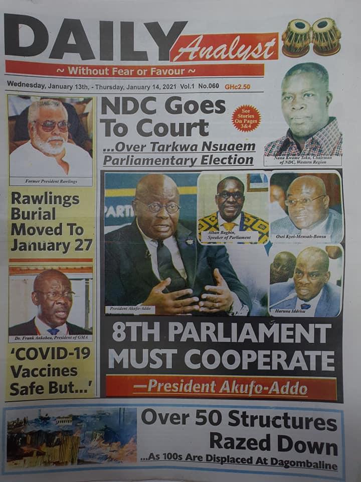 Newspaper headlines of Wednesday, 13 January , 2021 67