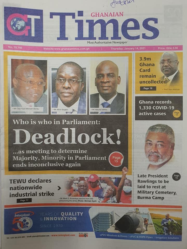 Newspaper headlines of Thursday, January 14, 2021 3