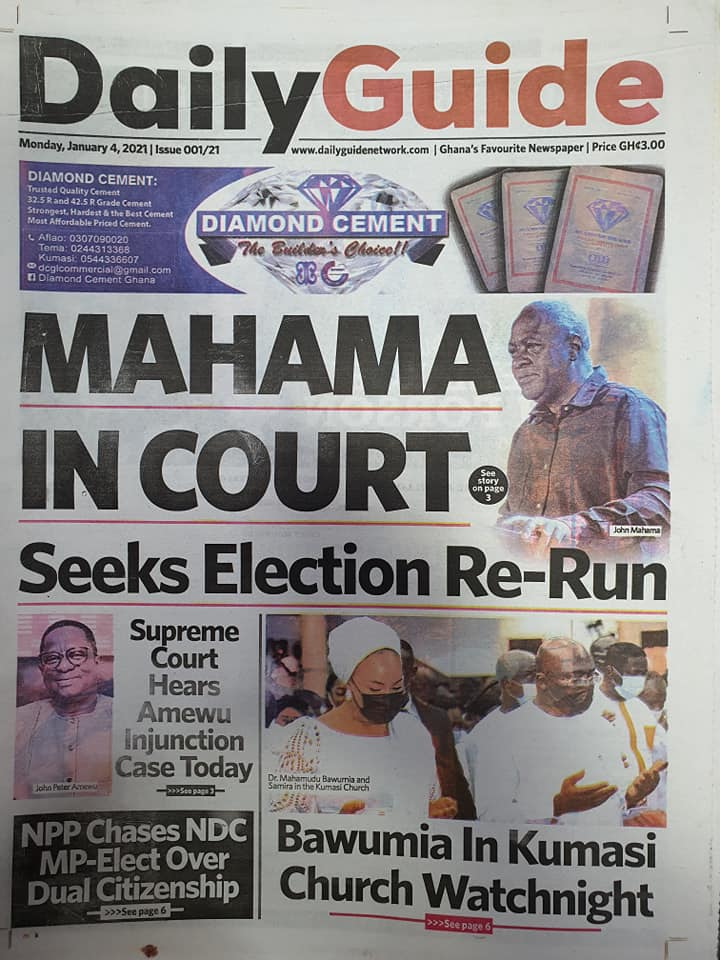 Newspaper headlines of Monday, January 4, 2021 18