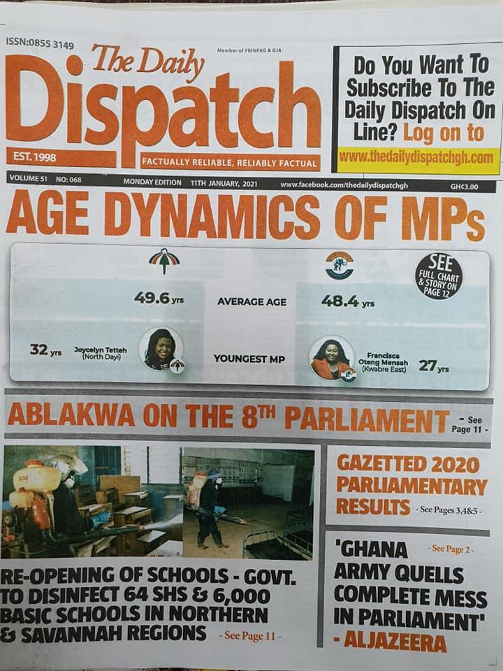 Newspaper headlines of Monday, January 11, 2021 84