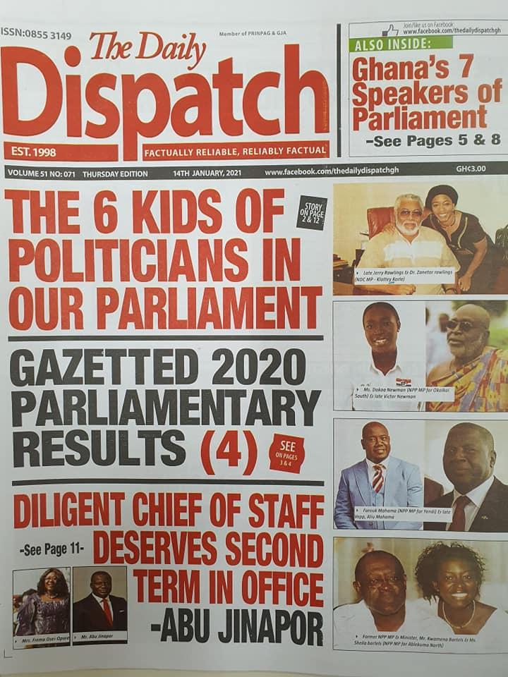 Newspaper headlines of Thursday, January 14, 2021 1