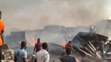Photo of Ashanti: Another fire guts wooden structures at Dagombaline (Video)