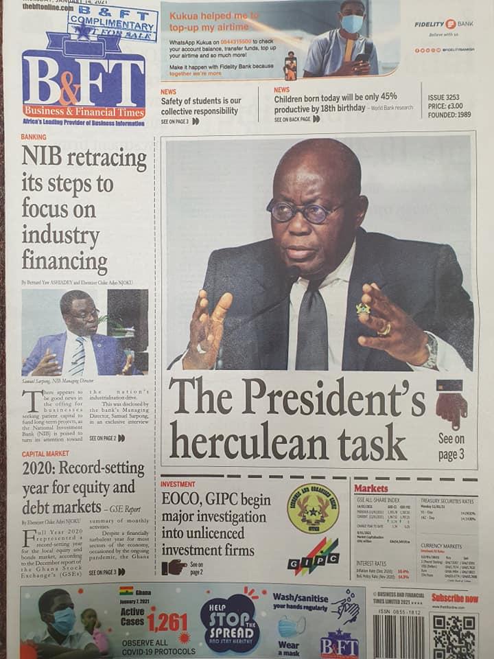 Newspaper headlines of Thursday, January 14, 2021 10