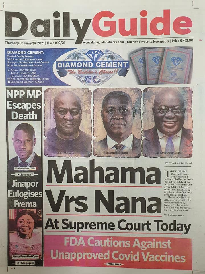 Newspaper headlines of Thursday, January 14, 2021 6