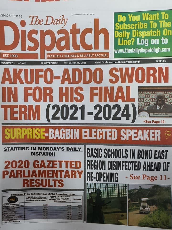 Newspaper headlines of Friday, January 8, 2020 54