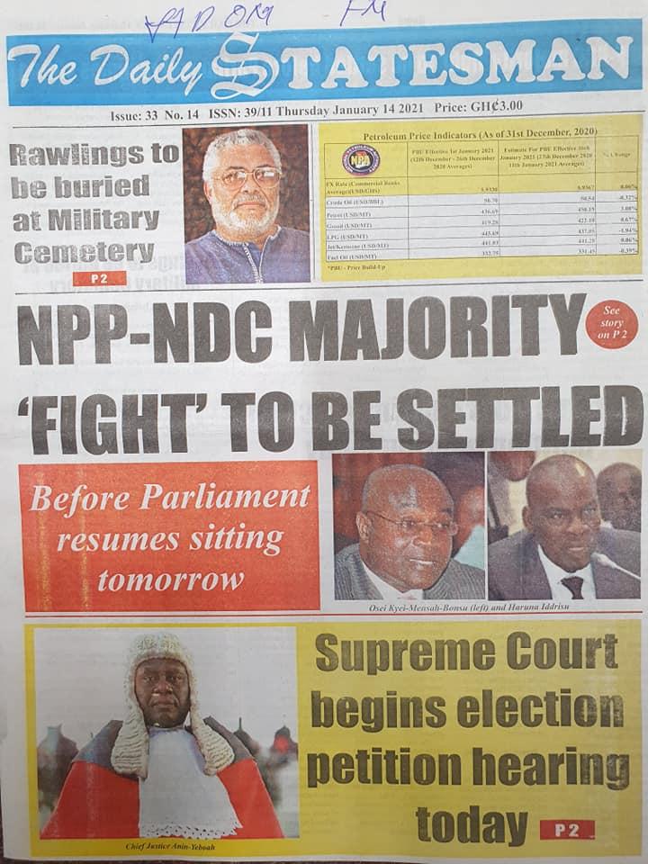 Newspaper headlines of Thursday, January 14, 2021 2