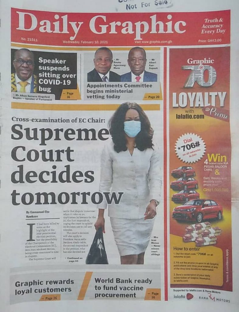 Newspaper headlines of Wednesday, February 10, 2021 19