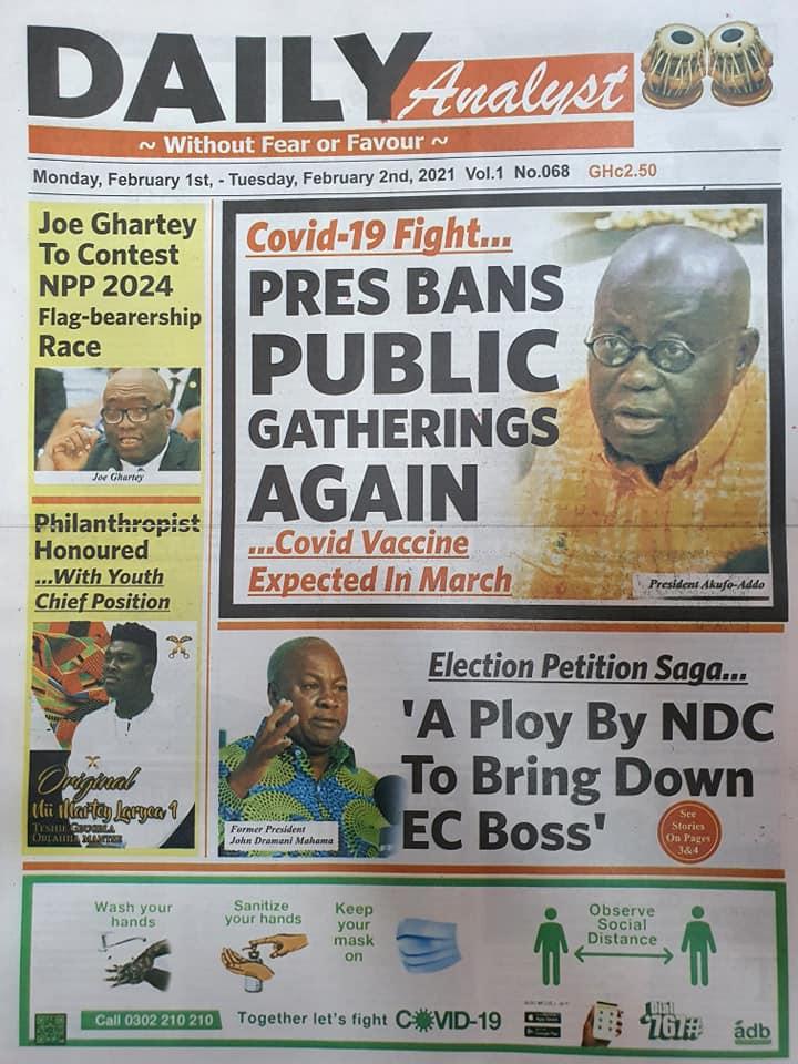 Newspaper Headlines Of Today February 1st 2021 100