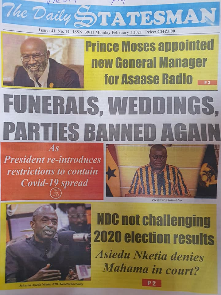 Newspaper Headlines Of Today February 1st 2021 89