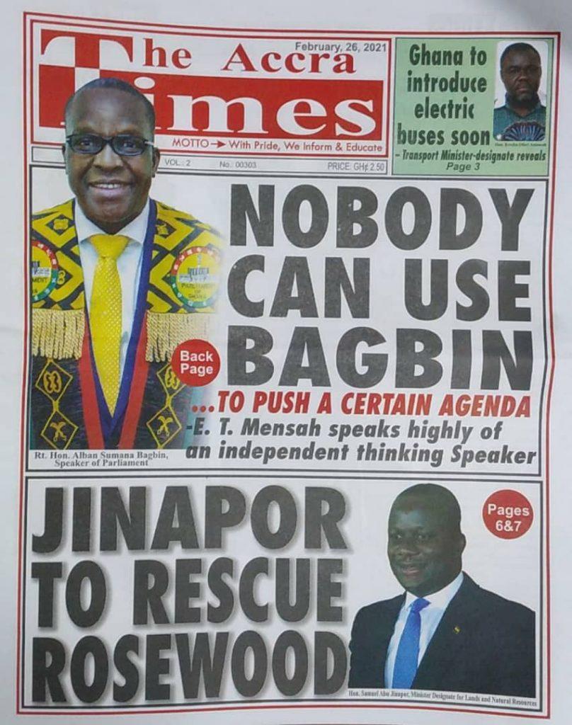 Newspaper headlines Of Friday, February 26, 2021 29
