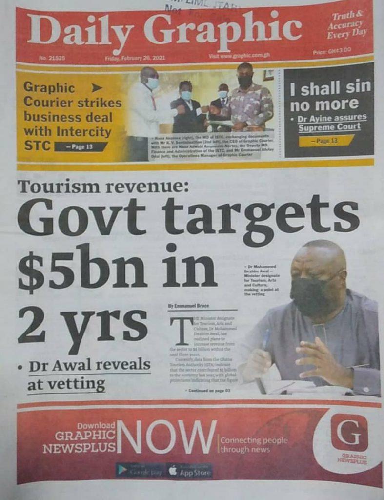 Newspaper headlines Of Friday, February 26, 2021 30