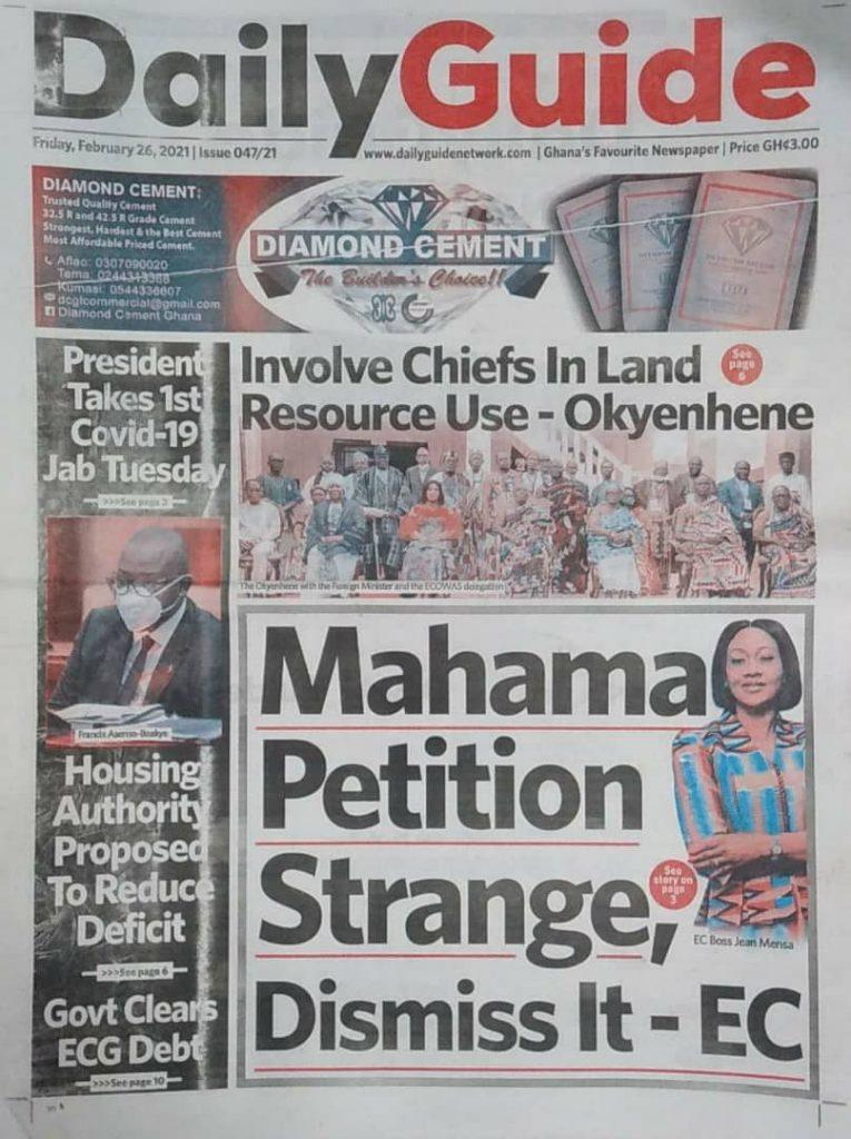Newspaper headlines Of Friday, February 26, 2021 31
