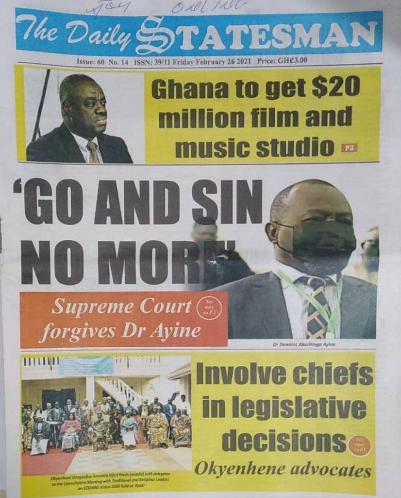 Newspaper headlines Of Friday, February 26, 2021 33