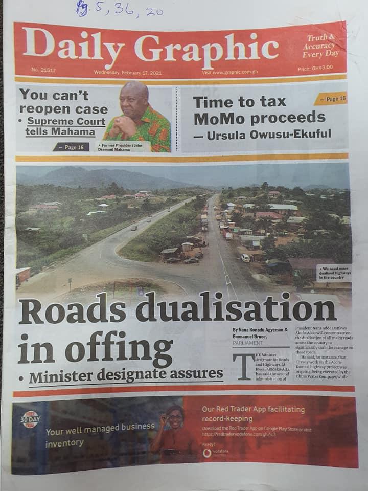 Newspaper headlines of Wednesday, February 17, 2021 97