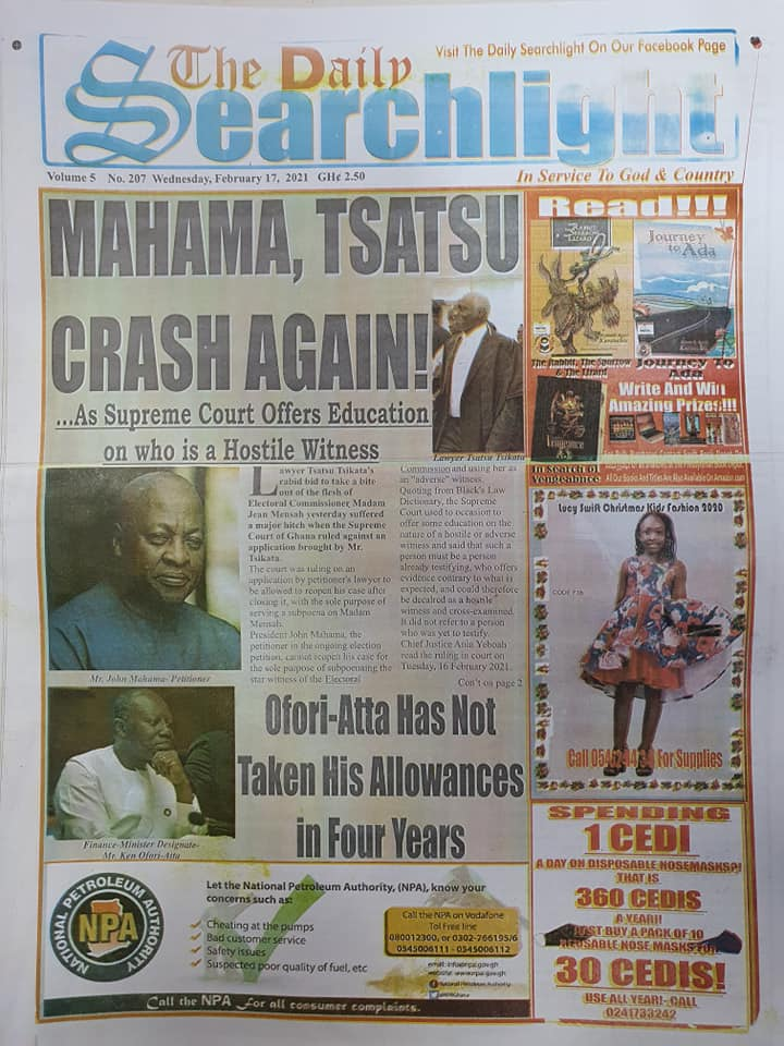 Newspaper headlines of Wednesday, February 17, 2021 94