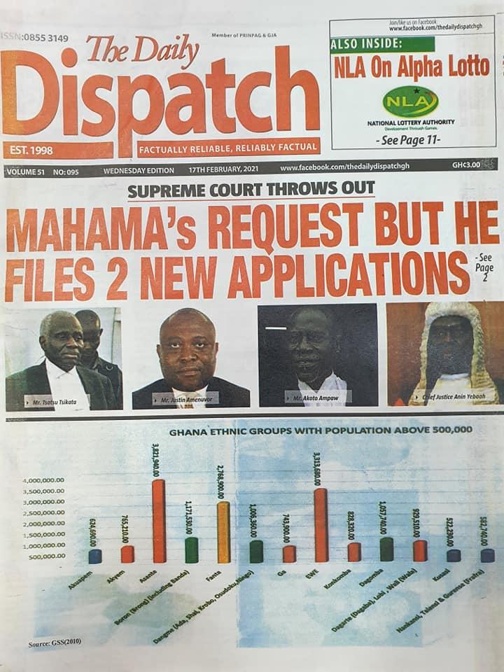 Newspaper headlines of Wednesday, February 17, 2021 100