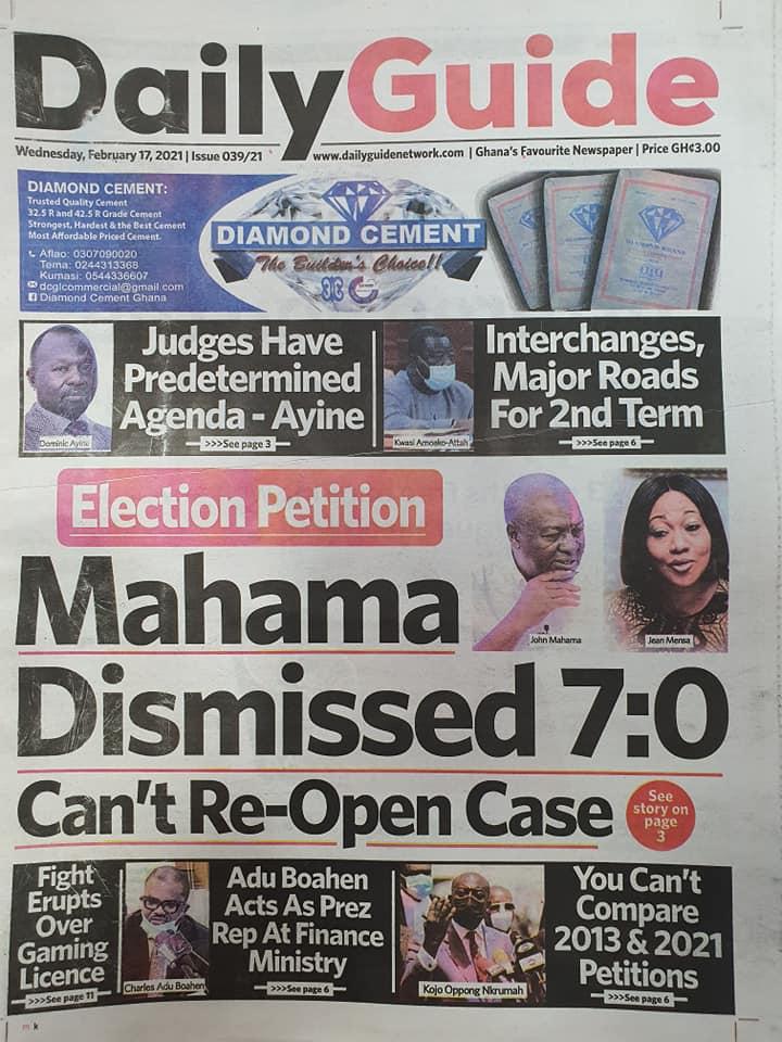 Newspaper headlines of Wednesday, February 17, 2021 82