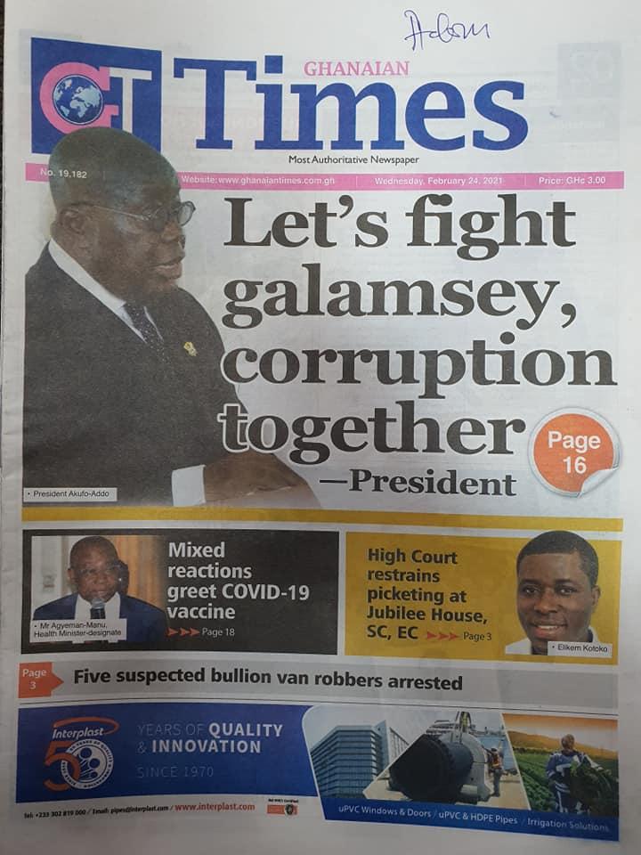 Newspaper headlines of Wednesday, February 24, 2021 102