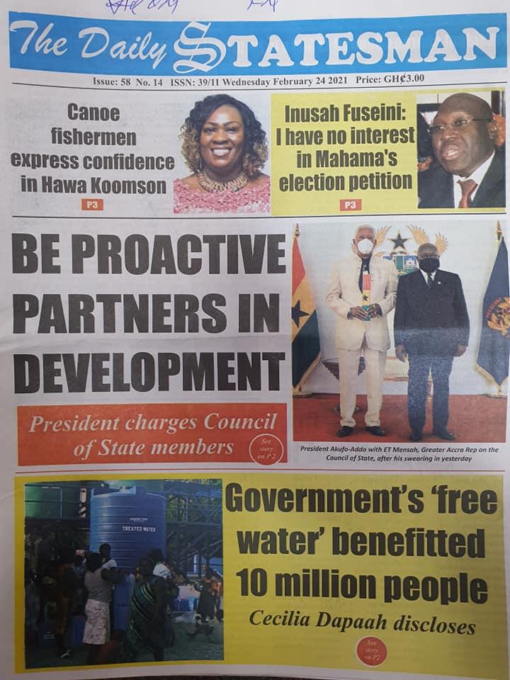 Newspaper headlines of Wednesday, February 24, 2021 103