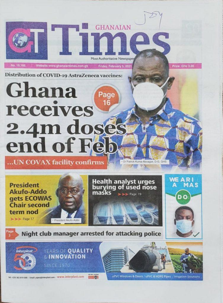 Newspaper headlines of Friday, February 5, 2021 75
