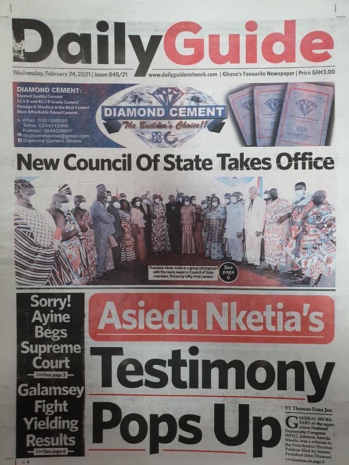 Newspaper headlines of Wednesday, February 24, 2021 90