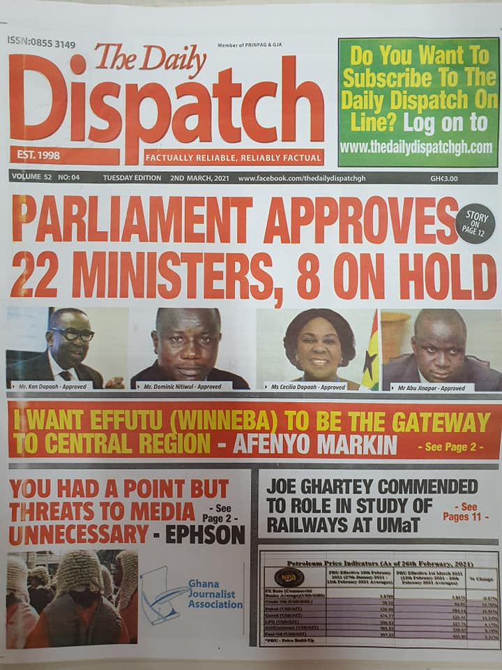 Newspaper headlines of Tuesday, March 2, 2021 9