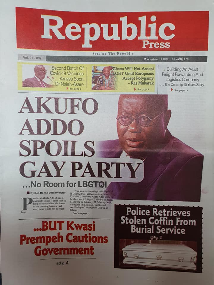Newspaper Headlines of Monday, 1 March 2020 109