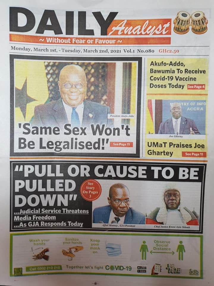 Newspaper Headlines of Monday, 1 March 2020 94