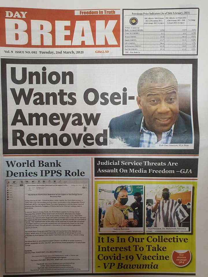 Newspaper headlines of Tuesday, March 2, 2021 2